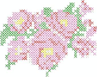 Embroidery file 10x10/13x18 - Bauernrose cross stitch