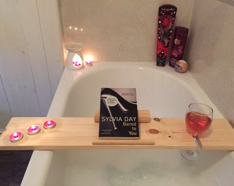 Bath Tray / Caddy Handmade Wooden Bubble Bath Tray Relax iPad/ Book Rest Prefect Christmas Gift. Wine holder