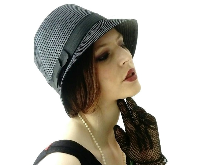 Bell Hat Black Wicker style 20s/20s style black Bell Hat