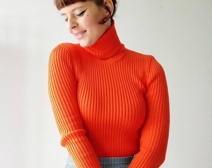 Pull-over turtle orange turtleneck turtleneck sweater orange turtleneck turtle