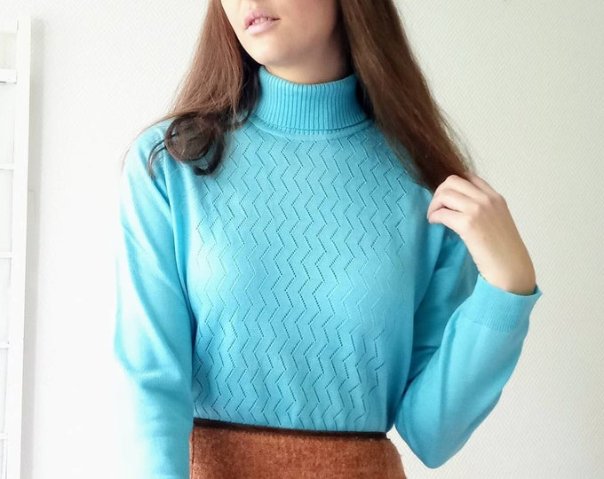 Pull-over col roulé turquoise 1970's //1970's turtleneck turquoise sweater