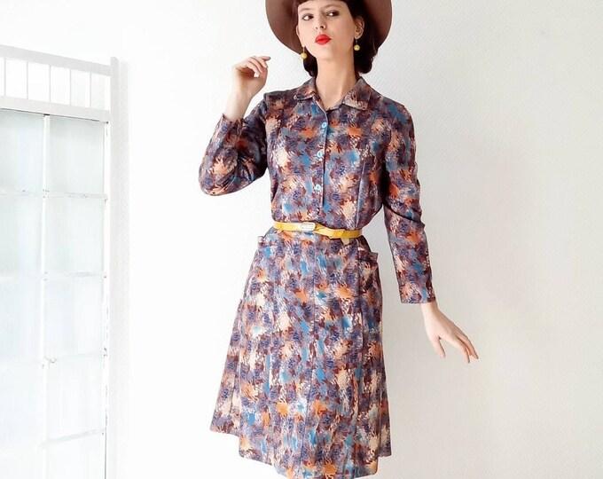 Vintage dress 70s style 40s abstract autumn print //40's style 70's autumn colors abstract print dress dress