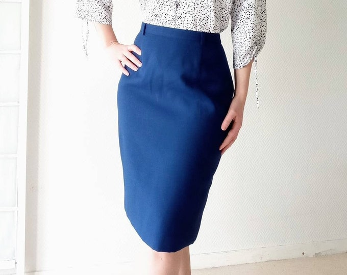 WEINBERG navy blue pencil skirt 70s //1970's Weinberg blue navy Weinberg pencil skirt