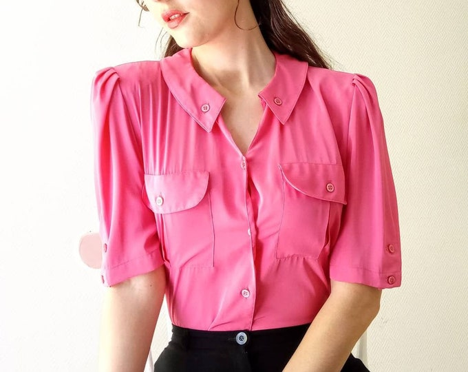 Vintage pink blouse 80s style 50s //1980's does 50s vintage pink shirt
