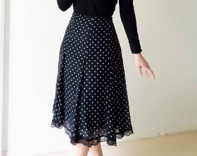 Silk skirt with polka dots and lace border style 50s //50's navy style polkadot silk skirt with lace border