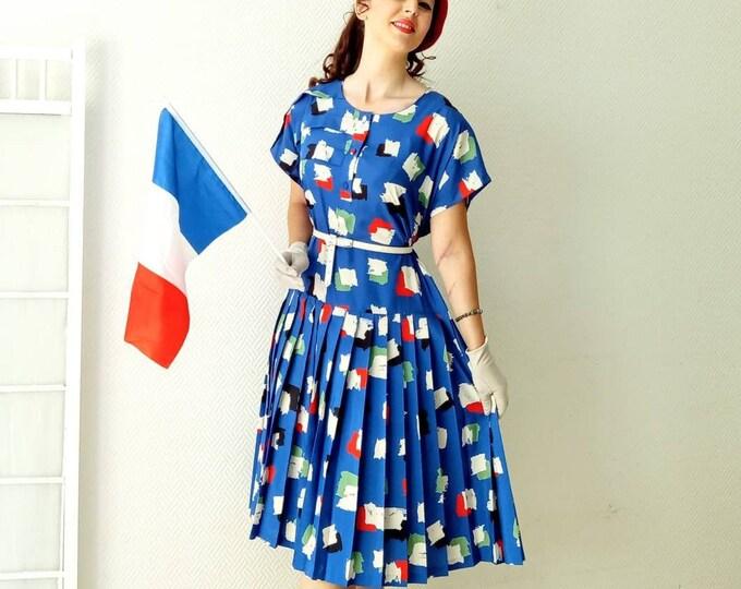 Vintage pleated dress geometric 80's colors French flags //Vintage 1980's Square pleated dress with French flag colors