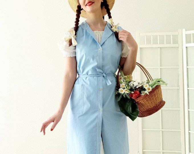 Vintage cotton apron dress 1980's //Vintage 1980's cotton apron dress