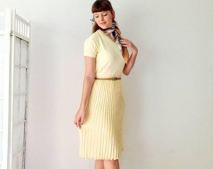 Jupe 1960's deadstock laine jaune //1960's deadstock yellow knitting skirt