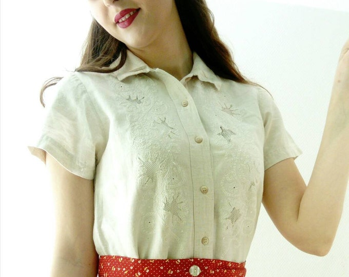 Vintage embroidered blouse/vintage embroidered blouse