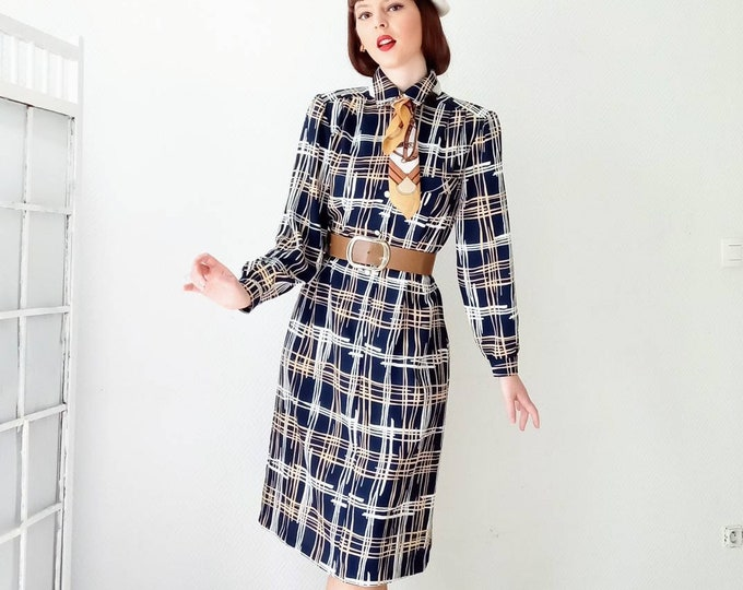 Vintage dress abstract tiles 1980's style 50// Vintage 1980's doed 50's abstract plaid print dress