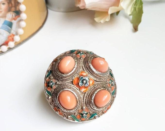 Hippy oriental enamel beads brooch 70///1970's boho oriental pearls enamel brooch