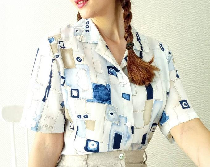 80s geometric print blouse //1980's vintage geometric print shirt