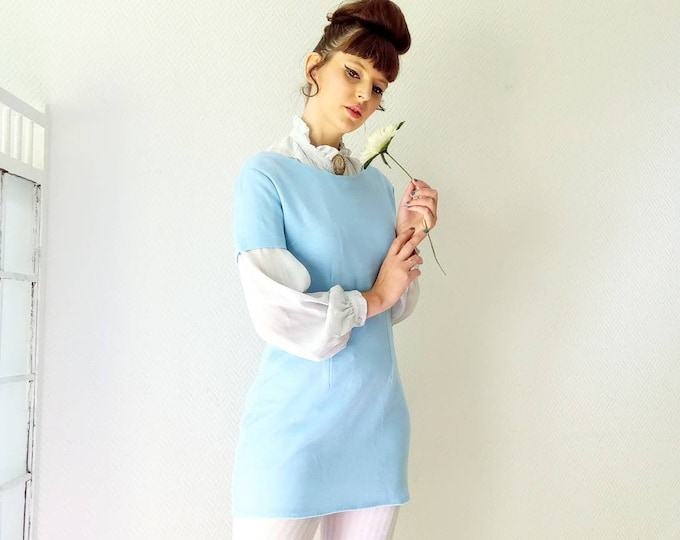 Deadstock blue sweater or tunic dress 60s //1960's deadstock blue sweater dress or tunic