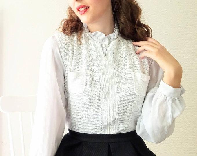 Handmade 70s/ //1970s white hand-knitted crochet cardigan vest