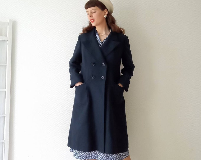 Navy blue coat 60s style 40s //60's blue navy coat 40's style
