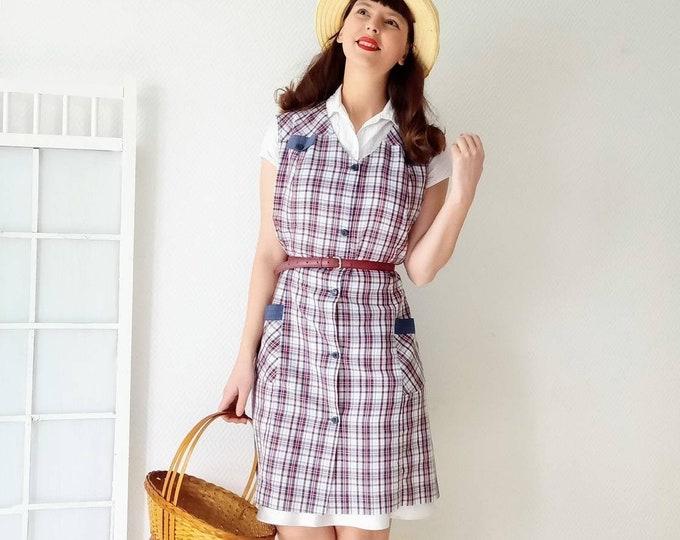 40s-style madras tile apron dress //40's vintage style plaid madras apron dress