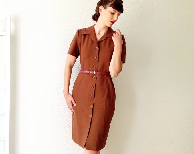 Deadstock brown dress 90's style 50s //vintage deadstock 1990's does 50's brown dress
