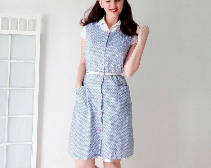 40s printed vintage apron dress //40s geometric style geometric apron dress