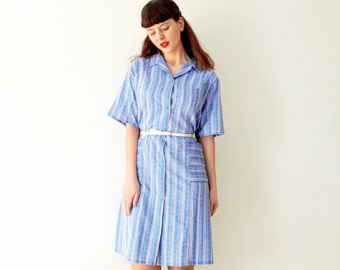 80s style stripe apron and 80s 50s style dress //80's 50s style stripes and floral apron dress