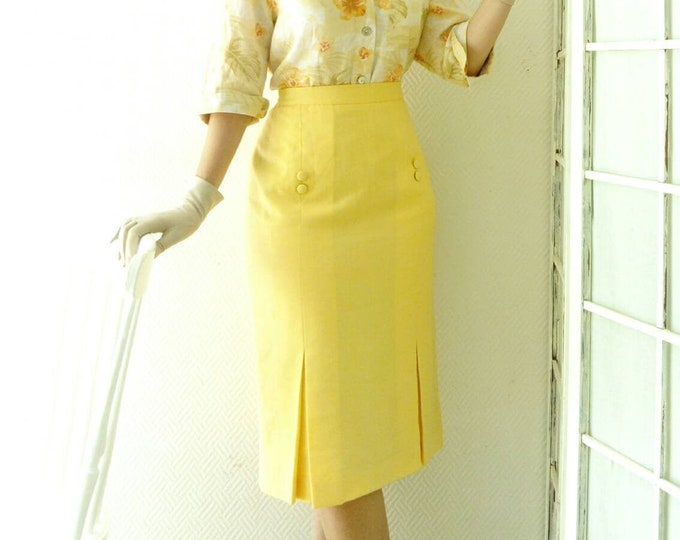 50s/50s-style yellow pencil skirt