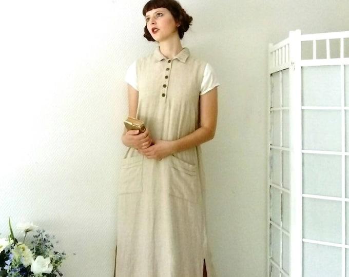 Edwardian beige prairie style long dress in the late 1910s /early 1910's edwardian prairie style nude long dress