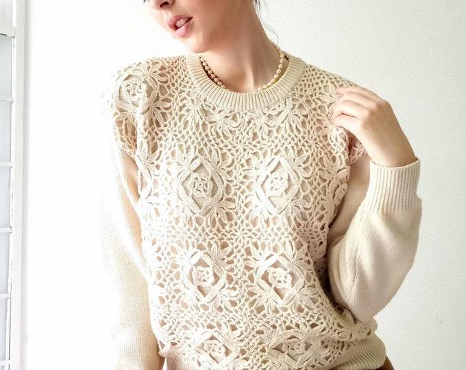 Pull-over ecru crochet crochet vintage //Vintage crochet ecru sweater