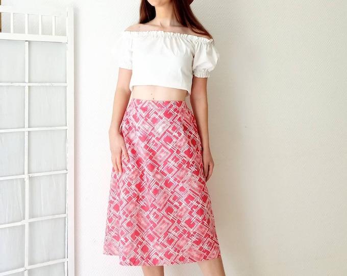 Vintage skirt midi printed geometric 80s / //1980's Vintage geometric print middle pink skirt