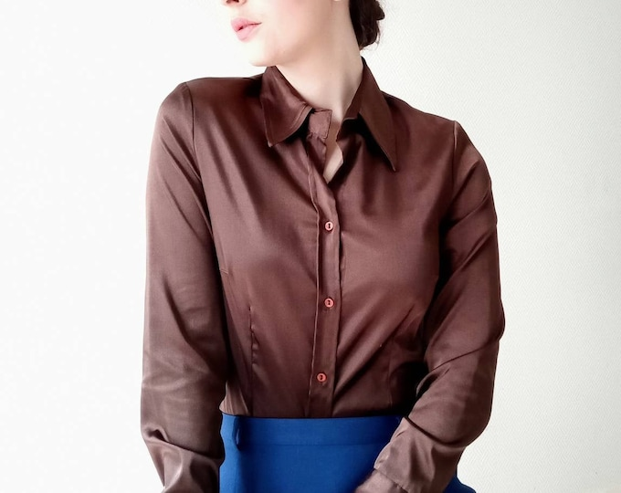 90s satin chocolate blouse //1990's satin chocolate shirt