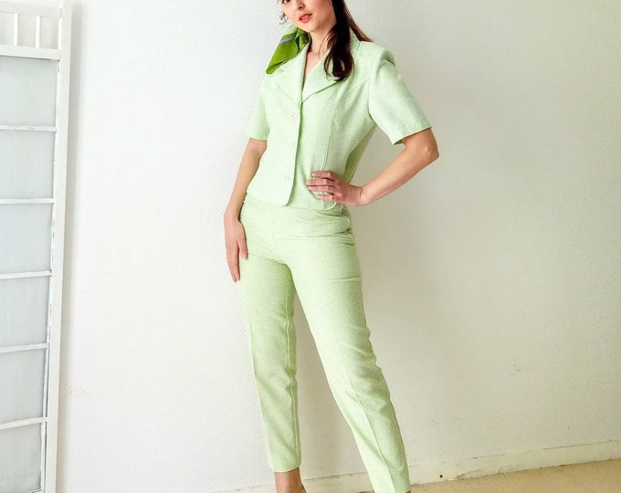 90's style 60s //Vintage 90's 60s green gingham pantsuit