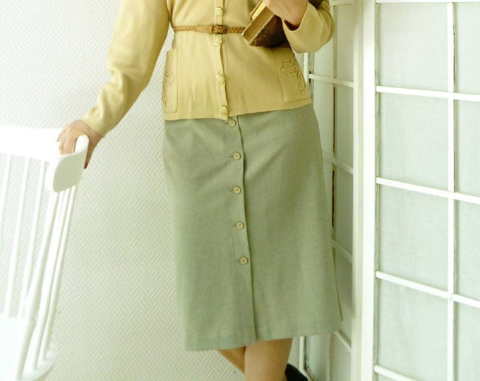 Green khaki-style skirt 40s /40's khaki style green skirt