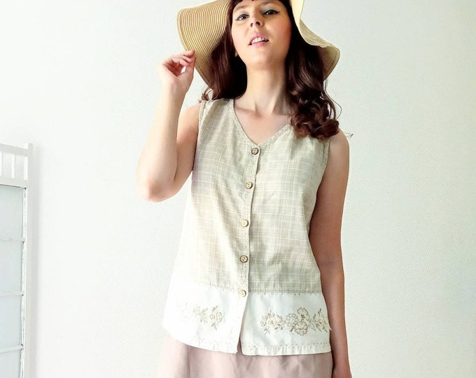Chemisier embroidered hippy 90's style seventies /90's does 70's style hippy embroidered blouse