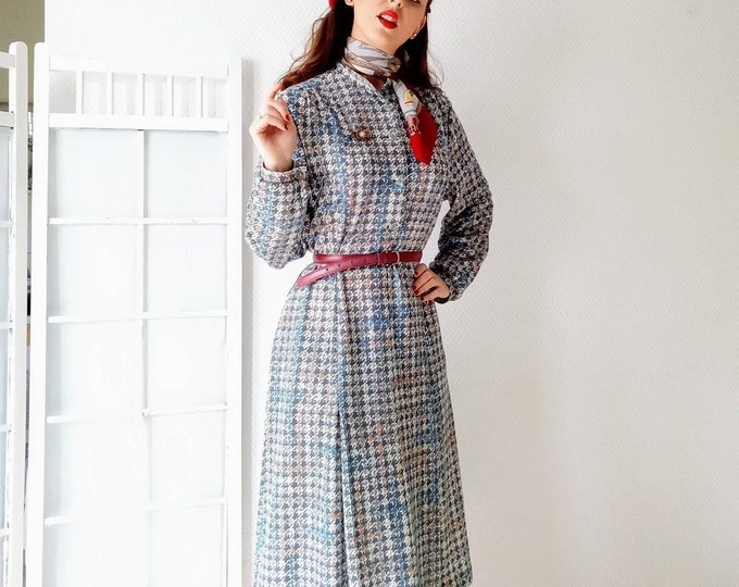 Vintage hen's dress 70s style 40s //Vintage 40's style houds tooth dress made in 70's