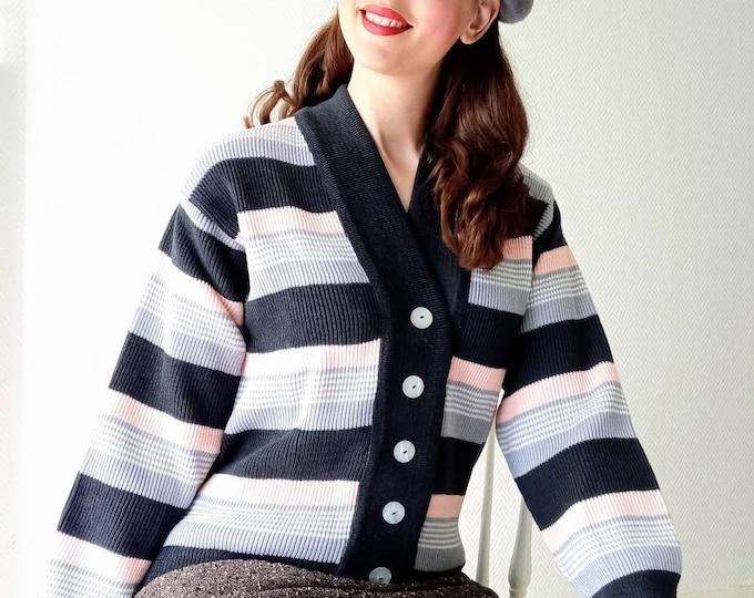 1960's deadstock-nine striped jacket //1960's deadstock stripes cardigan