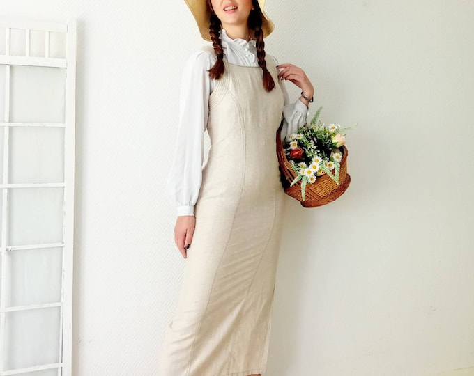 Long linen dress with 90s strapless style 70s //1990's does 70's long linen straps dress