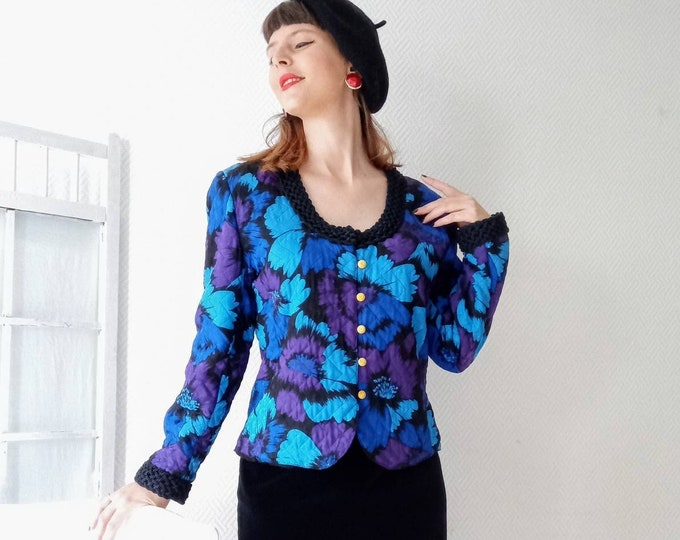 80s floral quilted silk jacket 80s //80's vintage silk quilted blue floral jacket