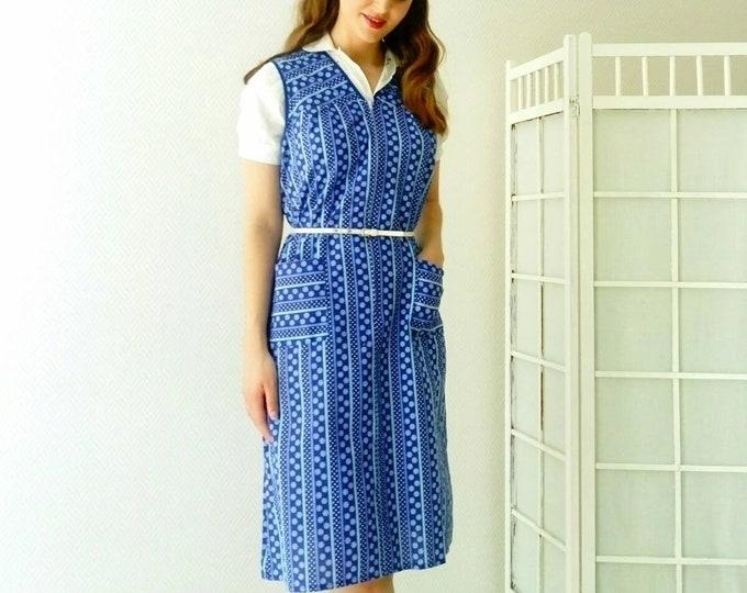 Vintage blue dress vintage apron /vintage blue pinafore dress
