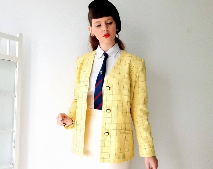 Yellow autumn jacket with vintage tiles //Vintage fall plaid yellow jacket