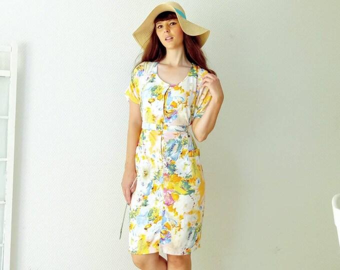 Robe d'été vintage floral années 80 // Vintage summer floral 80s dress