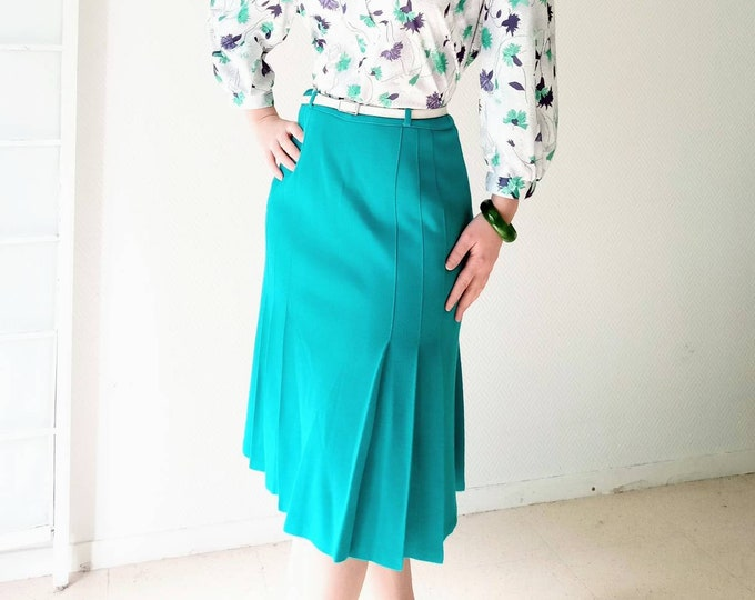 80s st Michael's 40s style green pleated skirt //40's style 80s St Michael pleated Green skirt