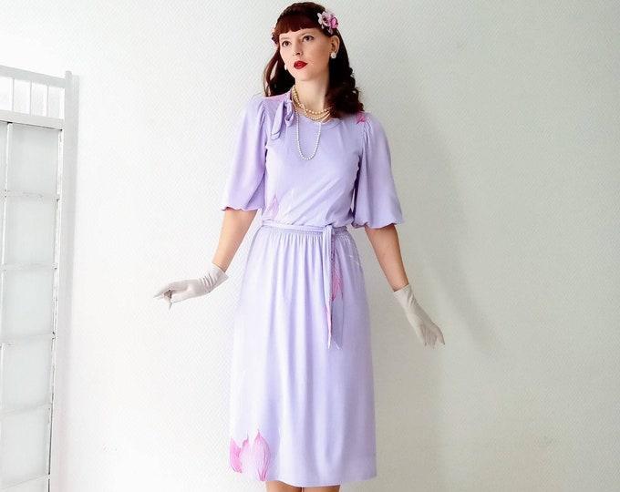Vintage lavender parma wallet dress 1980's //1980's vintage wrap purple lavender dress