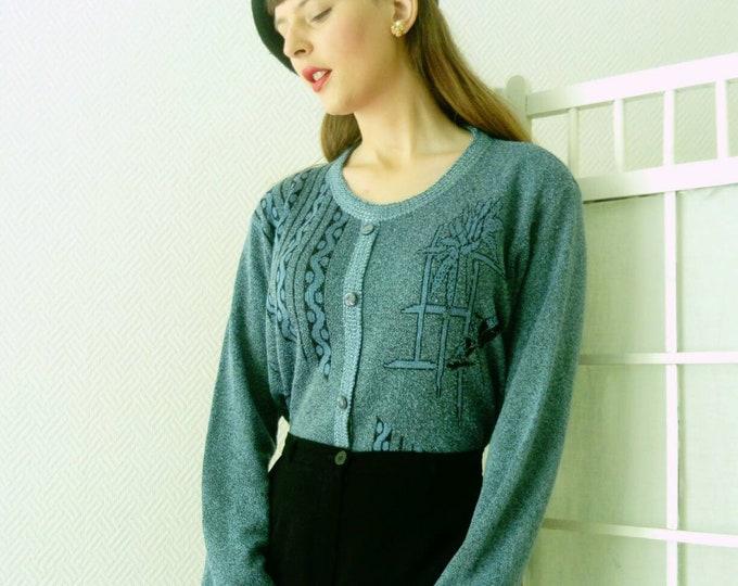 Pull-over blue floral patterns Vintage /Vintage floral print blue sweater