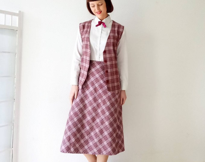 Set tailored skirt sleeveless waistcoat pink 70's style 40s//40's style 70's skirt and sleeveless vest pink tartan follows