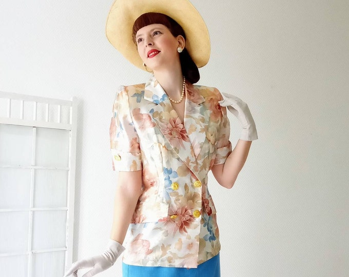 Jane Aubert 80s floral shirt jacket // 1980's vintage Jane Aubert floral shirt vest