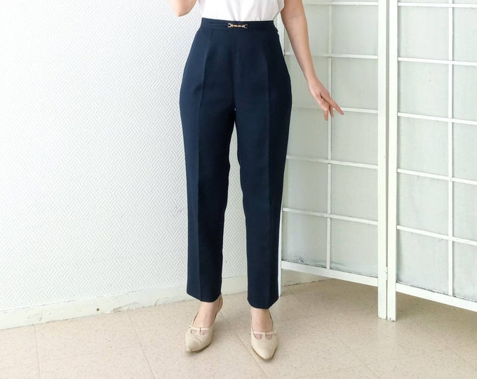 80's 50s style vintage navy right-handed trousers gold belt//Vintage 1980's does 50's navy straight trousers golden belt