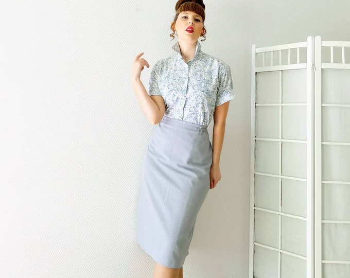 1990's 50s grey straight skirt // Vintage straight 1990's does 50's grey skirt