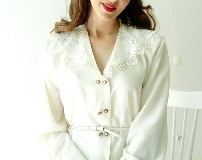 Vintage ivory collar lace blouse blouse