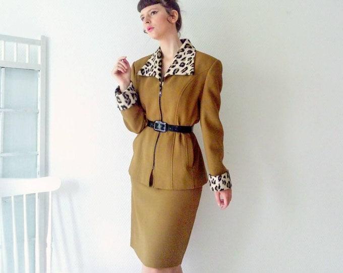 Set skirt and olive green jacket, leopard collar 70s /70's olive suit skirt and jacket with leopard collar