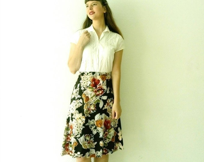 90s /90's cotton floral skirt floral skirt