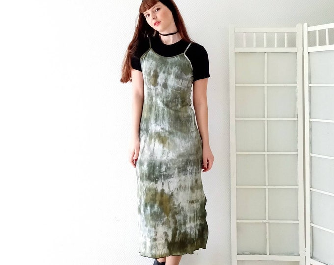 vintage green tie and dye 1990's // 1990's vintage green long tie and dye dress