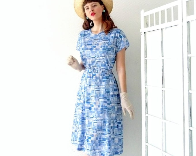 50s/50's blue dress blue dress
